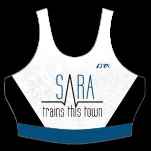 Sara Trains This Town NEW GoFierce Women's Tri Bra (BLUE/WHITE)